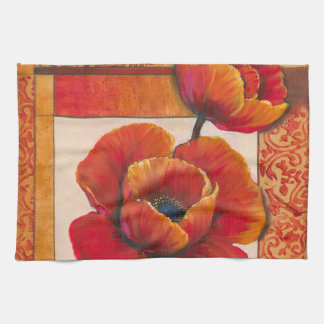 Poppy Flowers on Tan and Orange Background Towel