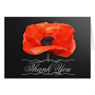 Poppy Flowers Orange Black Thank You Note Note Card