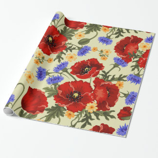 Poppy Flowers, Petals, Leaves - Red Green Blue Wrapping Paper