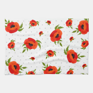 Poppy Flowers Tea Towel