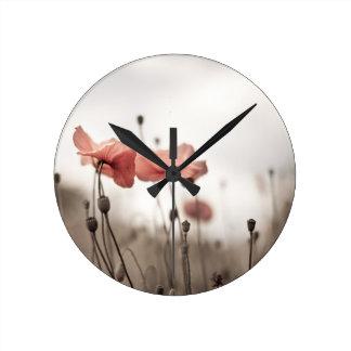Poppy Flowers Wall Clocks