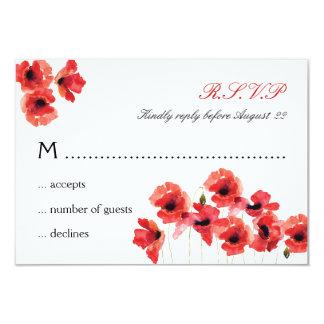 "Poppy Flowers Wedding RSVP Card 3.5"" X 5"" Invitation Card"
