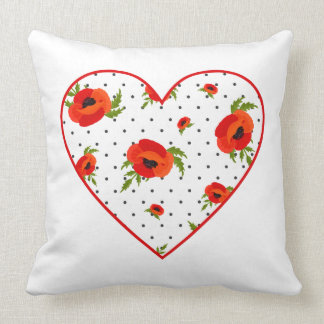 Poppy Flowers with Polka Dots Background Cushion