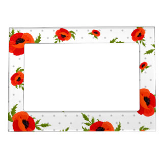 Poppy Flowers with Polka Dots Background Picture Frame Magnet