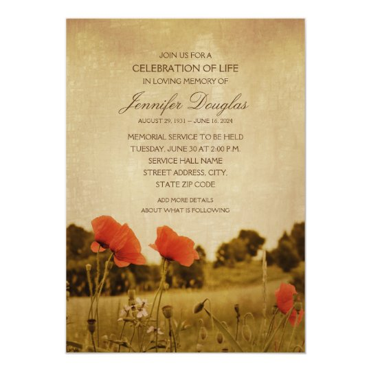Poppy Funeral Announcements Memorial Cards