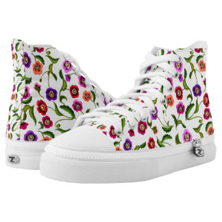 Poppy Garden Flowers High Top Sneakers