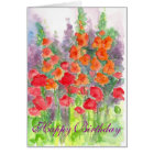 Poppy Gladiola Flower Watercolor Happy Birthday