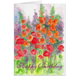 Poppy Gladiola Flower Watercolor Happy Birthday Card