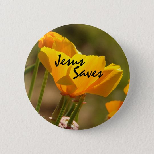Poppy Jesus Saves Button