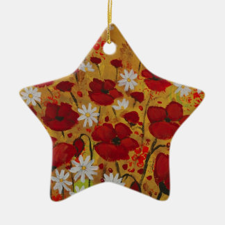 Poppy Meadow, Red Flowers Ceramic Star Decoration