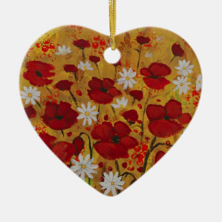 Poppy Meadow, Red Flowers Christmas Ornament