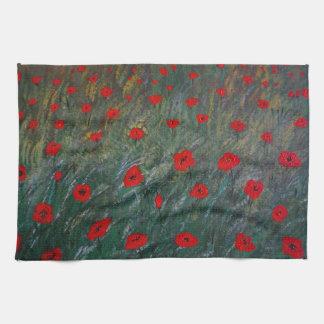 poppy meadow tea towel