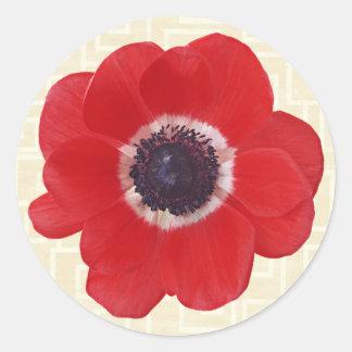 Poppy on Beige Classic Round Sticker