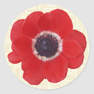 Poppy on Beige Round Sticker