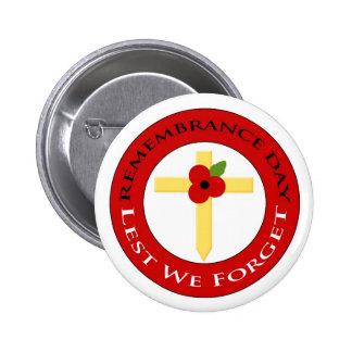 Poppy on cross - Badge Pinback Buttons