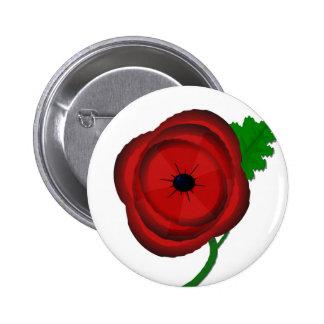 Poppy on white - badge