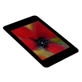 Poppy. Pastel Painting of a Red Flower. On Black. Rectangular Photo Magnet
