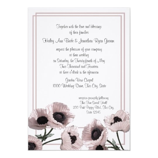 Poppy Pink Wedding Card