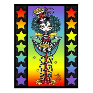 Poppy Popcorn Pixie Stick Rainbow Circus Postcard