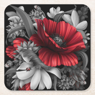 Poppy Pops Out Square Paper Coaster