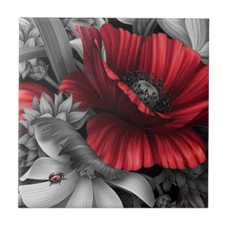 Poppy Pops Small Square Tile