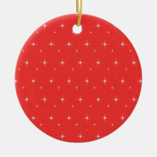 Poppy Red And Bright Stars Elegant Pattern Christmas Ornament
