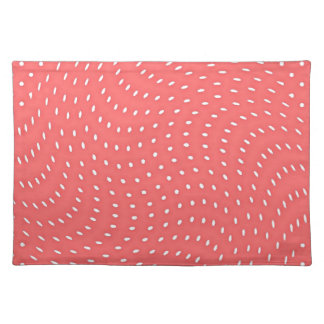 Poppy Red And White Polka Dots Pattern Place Mat