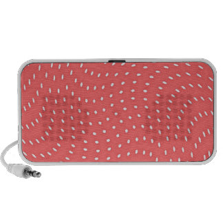 Poppy Red And White Polka Dots Pattern iPod Speakers