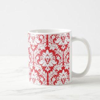 Poppy Red Damask Pattern Coffee Mug