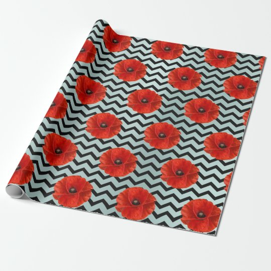 Poppy Red Flower Black White Glam Chevron Tiffany