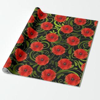 Poppy Red Flower Black White Glam Metallic Green Wrapping Paper