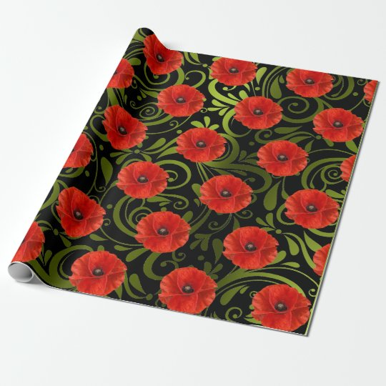 Poppy Red Flower Black White Glam Metallic Green
