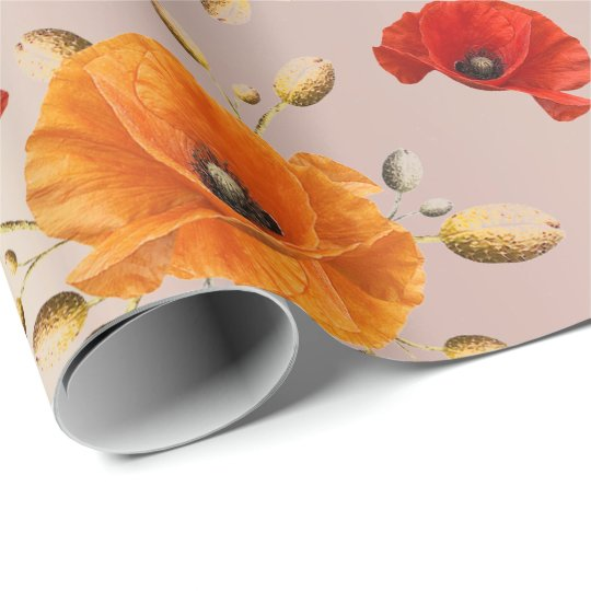 Poppy Red Flower Orange Glam Rose Gold Metallic