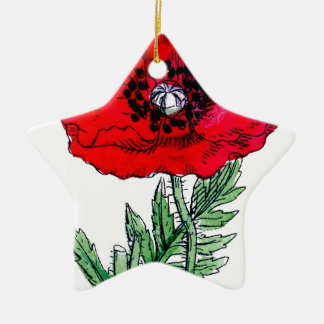 poppy red flowers vintage vines blossoms christmas ornament