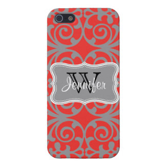 Poppy Red & Gray Trendy personalized iPhone 5 Case For iPhone 5/5S