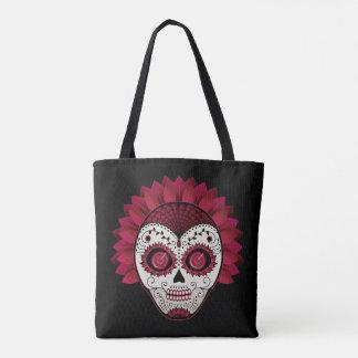 Poppy Red Sugar Skull Dia de los Muertos Tote