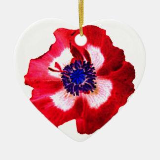 Poppy Red White Blue heart ornament plain