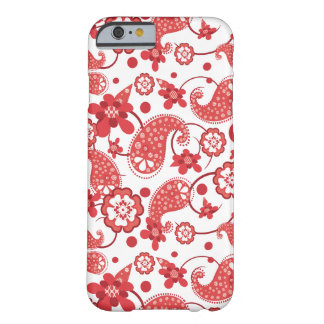 Poppy Red | White Chic Paisley Pattern Barely There iPhone 6 Case