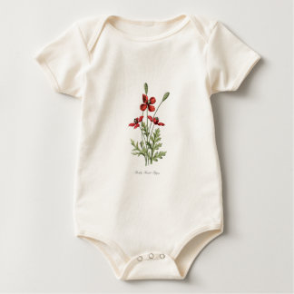 poppy save antique drawing botanical plate baby bodysuit