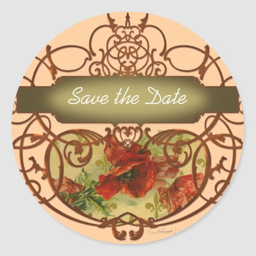 Poppy Scroll Banner Save the Date Tag Round Sticker