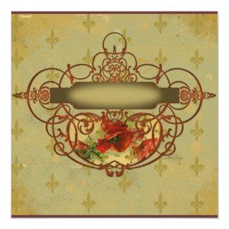 Poppy Scrolls Fleur de Lis Invitation