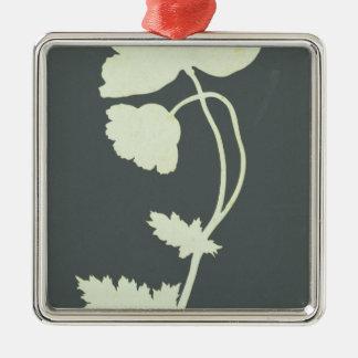 Poppy Silver-Colored Square Decoration