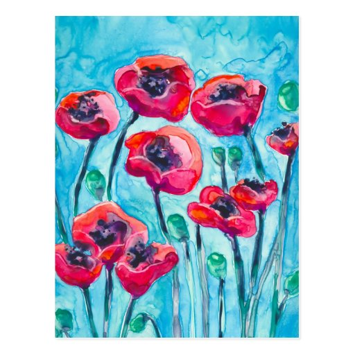 Poppy Sky - Floral Art Postcard