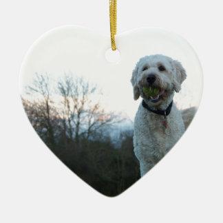 Poppy the labradoodle dog ceramic heart decoration