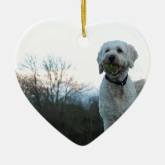 Poppy the labradoodle dog christmas ornament