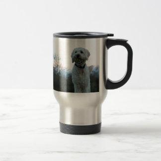 Poppy the labradoodle dog travel mug
