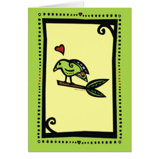 """POPPY"" THE LOVE BIRD GREEN GREETING CARD"