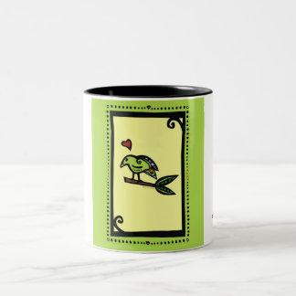 """POPPY"" THE LOVE BIRD GREEN Two-Tone MUG"