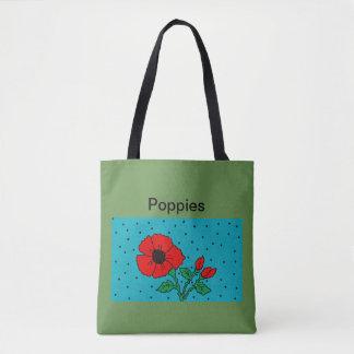 poppy tote bag green