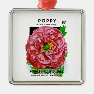 Poppy Vintage Seed Packet Silver-Colored Square Decoration